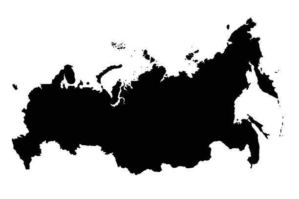 map of russia black silhouette 3d illustration - russia stock pictures, royalty-free photos & images