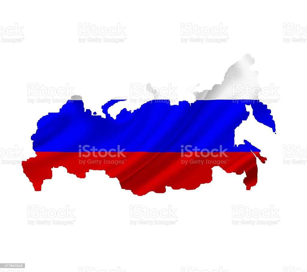 Map of Russia with waving flag isolated on white royalty-free stock photo