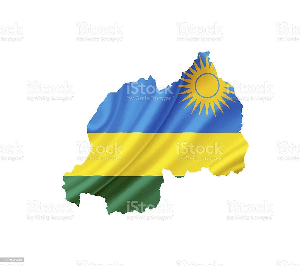 Map of Rwanda with waving flag isolated on white royalty-free stock photo