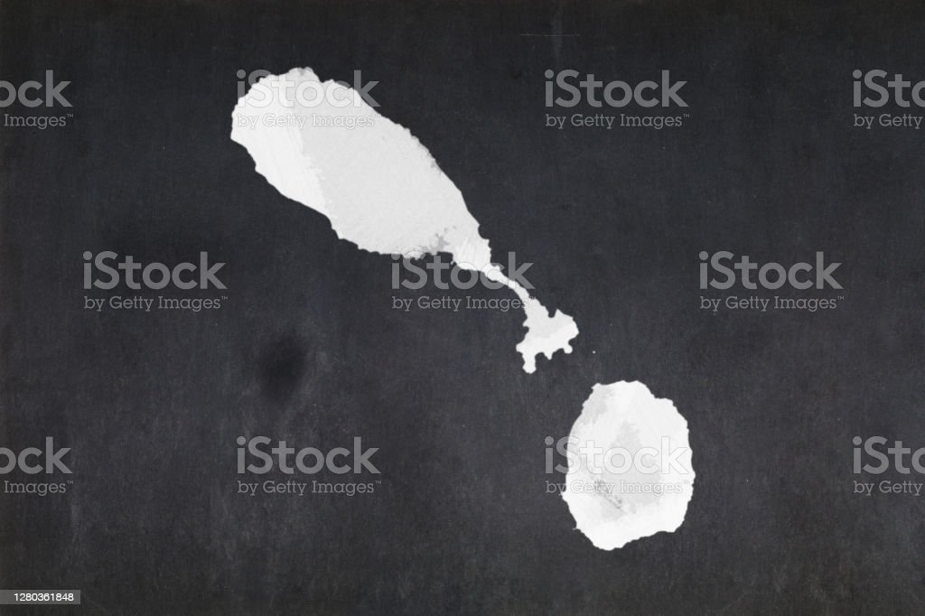 Map of Saint Kitts and Nevis drawn on a blackboard Blackboard with a the map of Saint Kitts and Nevis drawn in the middle. Backgrounds Stock Photo