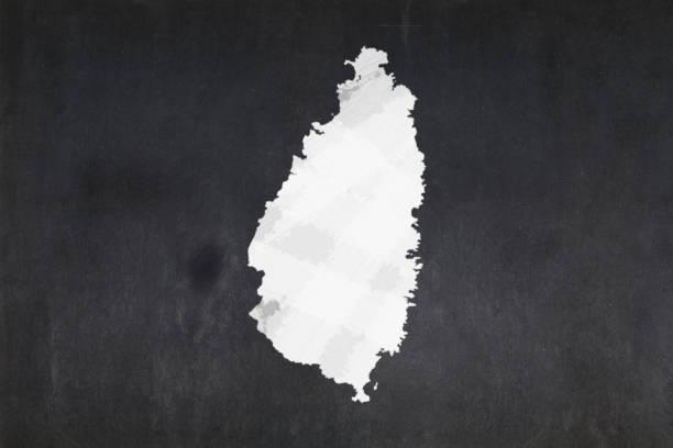 Map of Saint Lucia drawn on a blackboard stock photo
