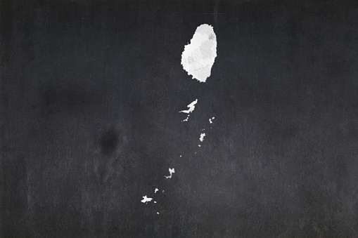 Map Of Saint Vincent And The Grenadines Drawn On A Blackboard Stock Photo - Download Image Now