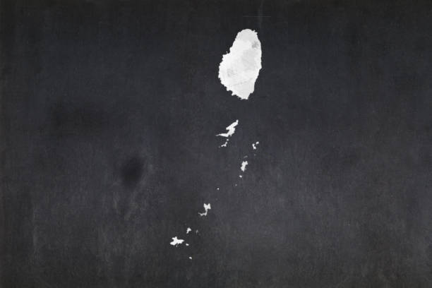 Map of Saint Vincent and the Grenadines drawn on a blackboard stock photo