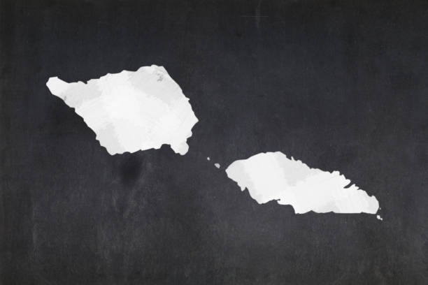 Map of Samoa drawn on a blackboard stock photo