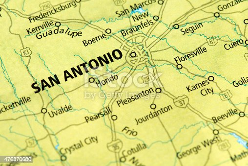 Map Of San Antonio Texas State In Usa Stock Photo IStock - San antonio texas on us map
