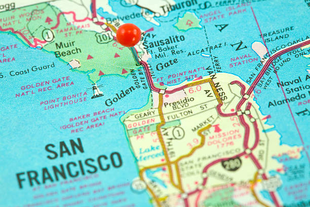 Stadtplan von San Francisco und die Golden Gate Bridge konzentriert – Foto