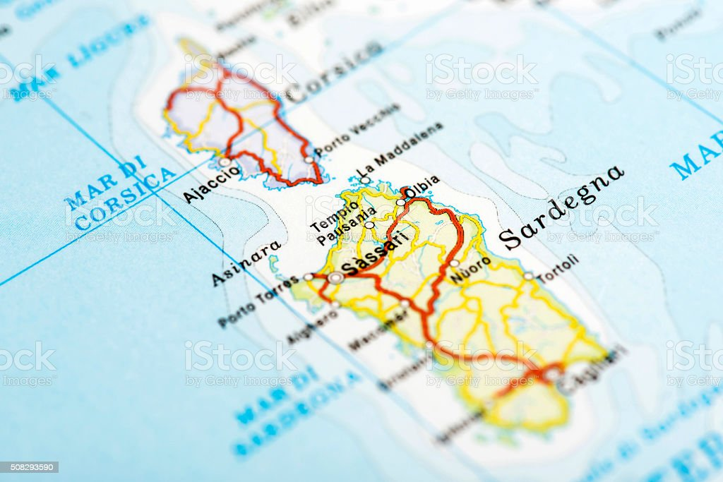 Map Of Sardegna Italy Stock Photo More Pictures Of Capital Cities
