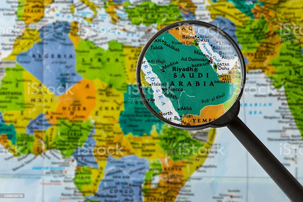 Map of Saudi Arabia stock photo