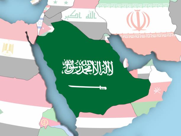 map of saudi arabia with flag on globe - saudi arabia map stock photos and pictures