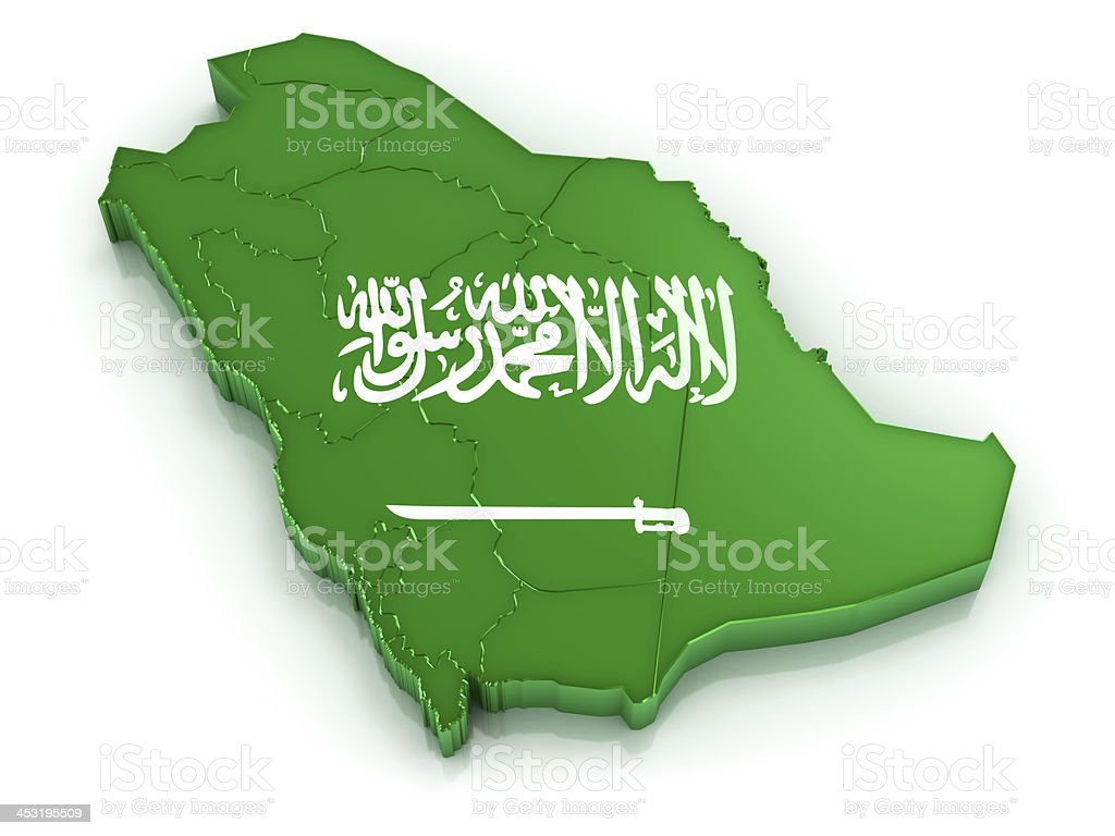 Map of Saudi Arabia with flag stock photo