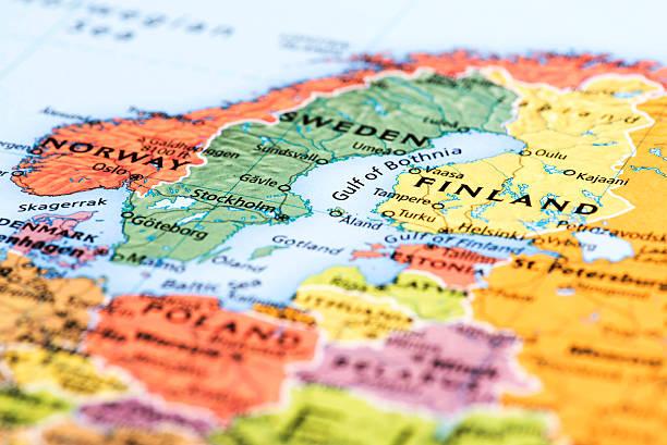 map of scandinavian countries - kuzey ülkeleri stok fotoğraflar ve resimler