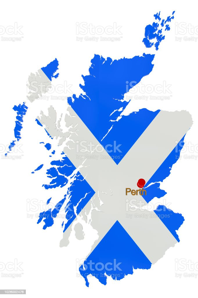 Map of Scotland with thumbtack showing the location of Perth stock photo