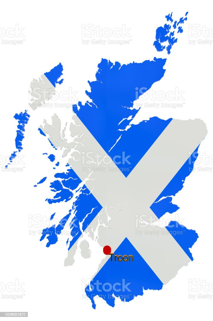 Troon Scotland Map.Map Of Scotland With Thumbtack Showing The Location Of Troon Stock