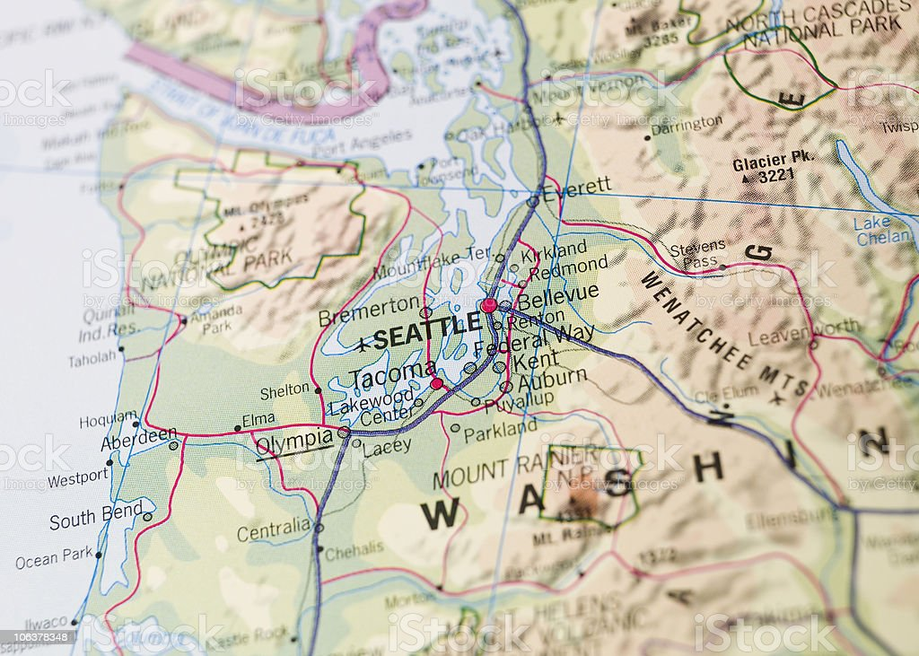 Map of Seattle stock photo
