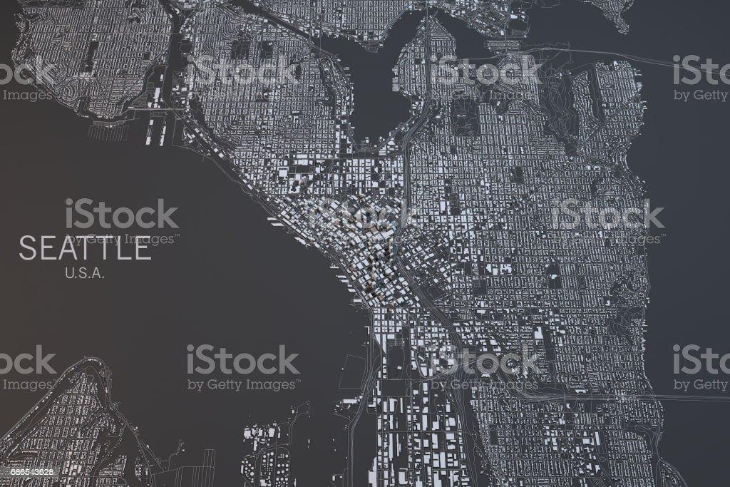 Map of Seattle, satellite view, city, Usa stock photo