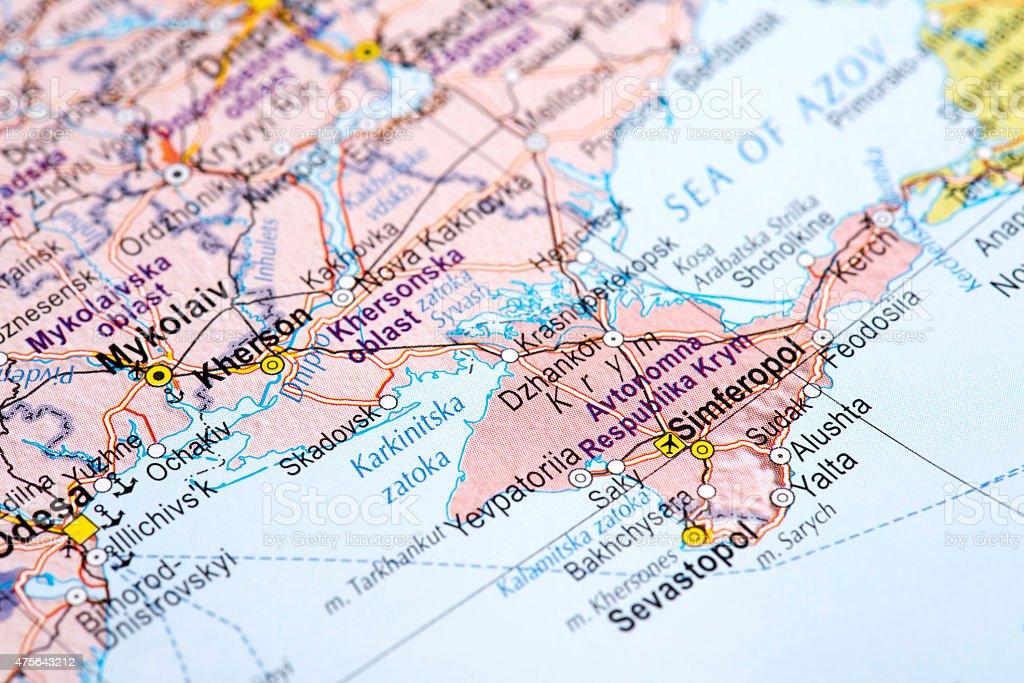 Map of Sevastopol, Ukraine stock photo