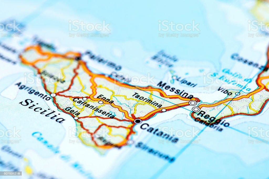 Mapa De Sicilia Italia.Mapa De Sicilia Italia Foto De Stock Y Mas Banco De Imagenes