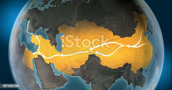 istock Map of Silk Road: routes connecting Asia to Europe 497990264