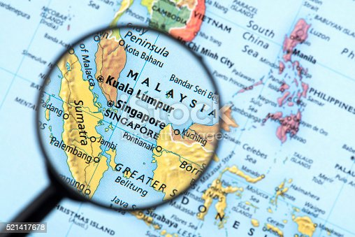 Map of Singapore. Detail from the World Atlas. Selective Focus.