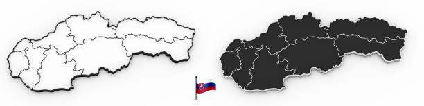 Carte 3D des silhouette blanche de Slovaquie et du drapeau - Photo