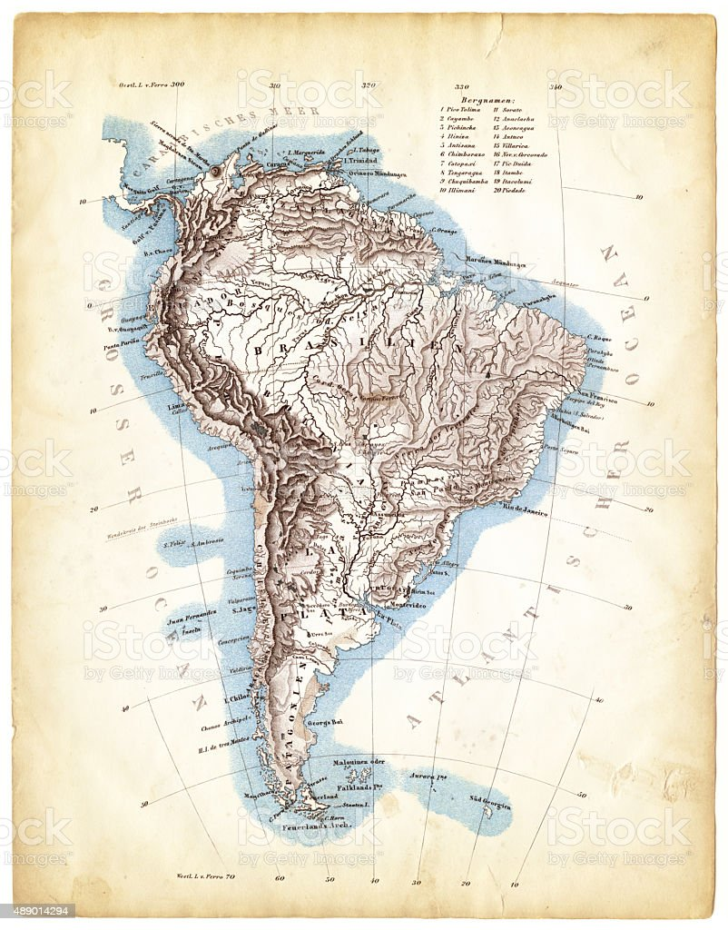 Map of South America 1863 stock photo
