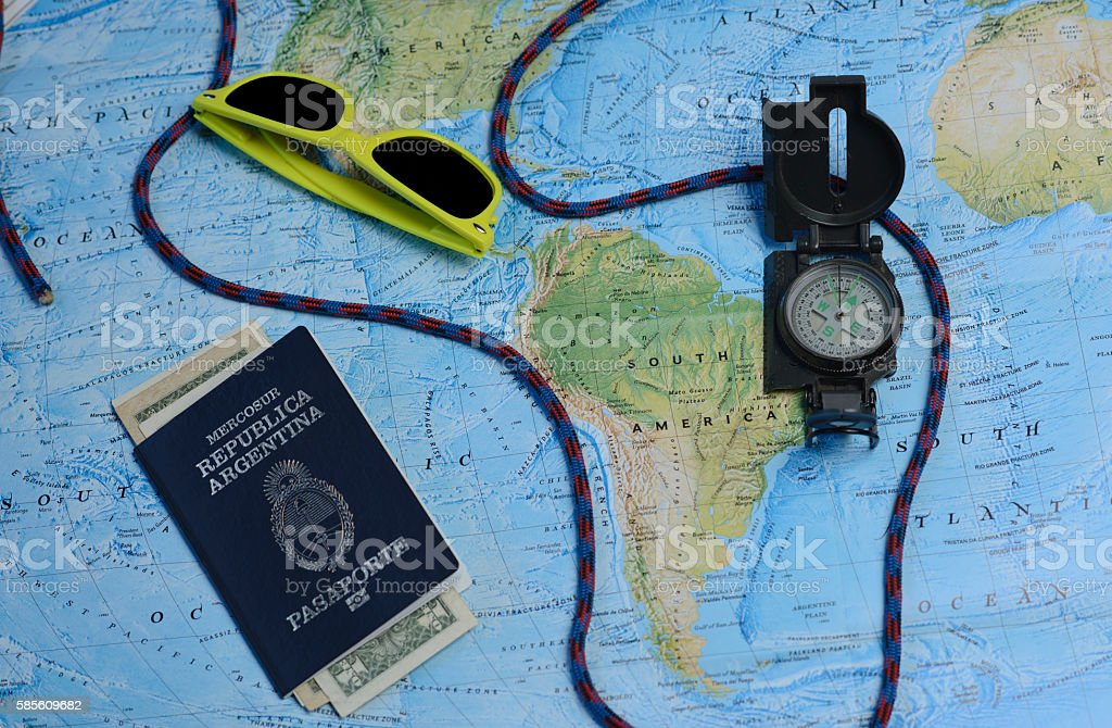 Map of South America, passport and travel accessories. - foto de stock