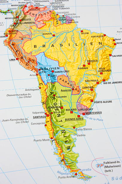 Map of South America Map of South America. civil war memorial minnesota stock pictures, royalty-free photos & images