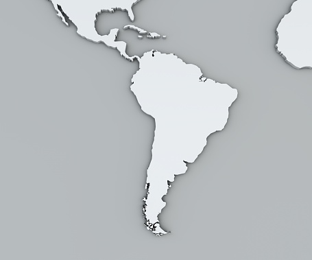 istock Map of South America, white geographical map. Cartography, geographical atlas. 955003800