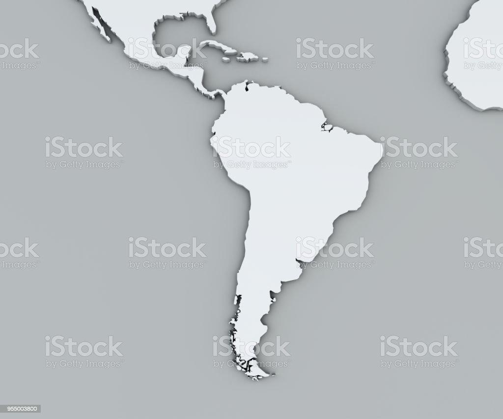 Mapa da América do Sul, mapa geográfico branco. Cartografia, atlas geográfico. - foto de acervo