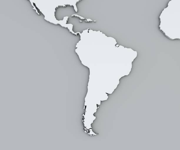map of south america, white geographical map. cartography, geographical atlas. - latin america stock photos and pictures