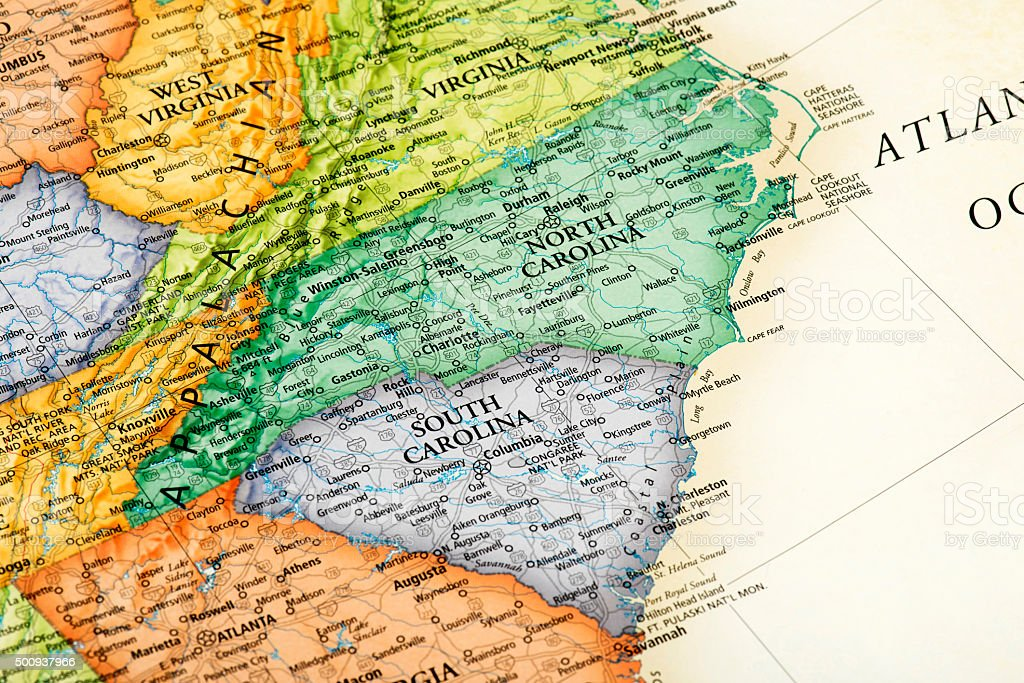 Map Of South Carolina And North Carolina States Stock Photo & More ...