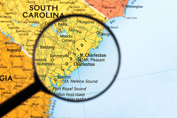 map of south carolina - charleston sc map stock photos and pictures