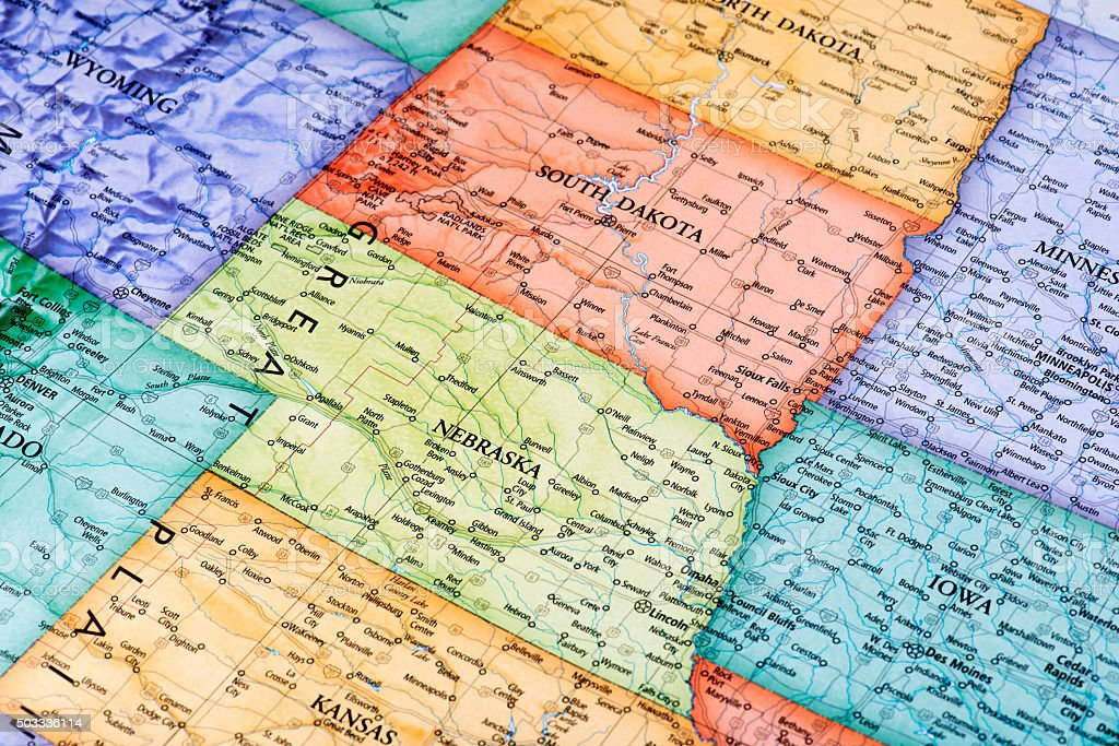 Map of South Dakota and Nebraska States stock photo