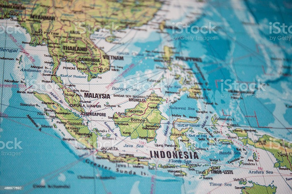 Map of South East Asia stock photo