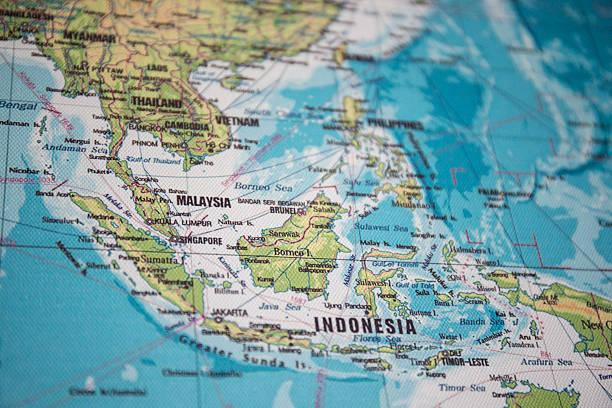 map of south east asia - zuidoost azië stockfoto's en -beelden