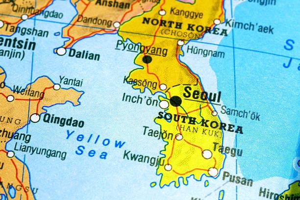 map の韓国 - 朝鮮半島 ストックフォトと画像