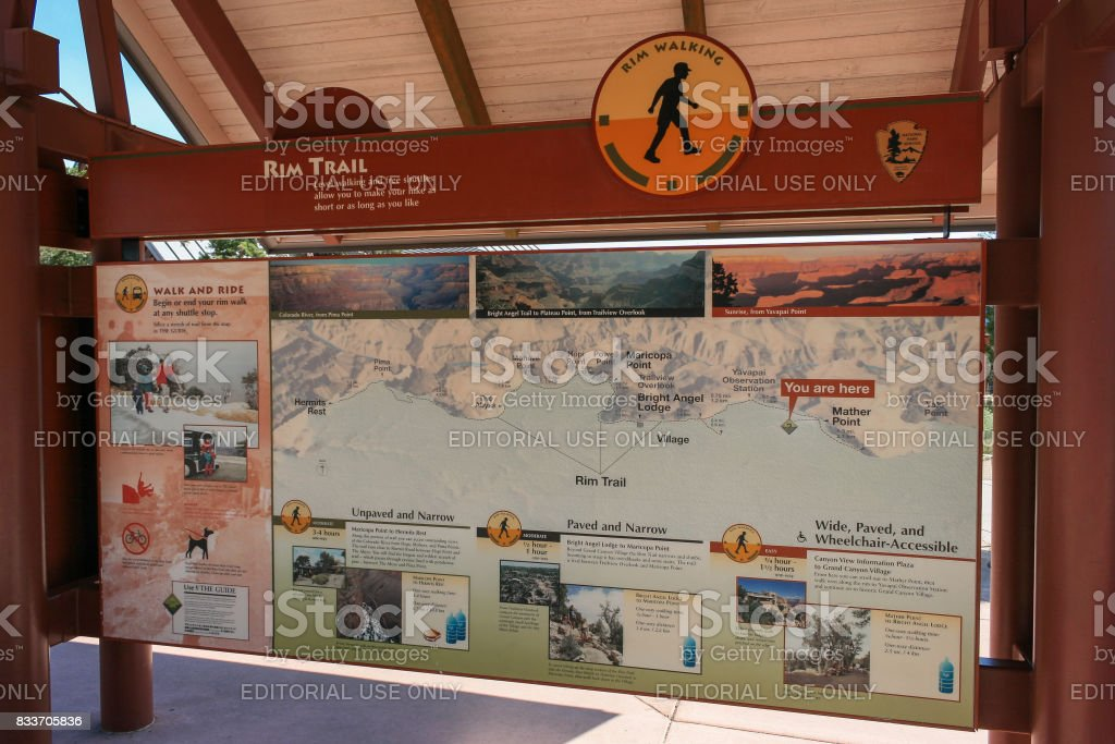 Map Of South Rim Trails At Grand Canyon National Park Stock