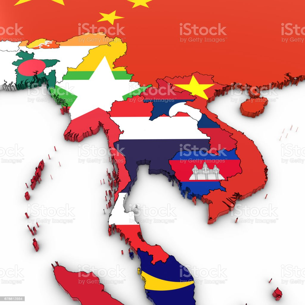 Map Of Asia 3d.3d Map Of Southeast Asia With National Flags On White Background 3d