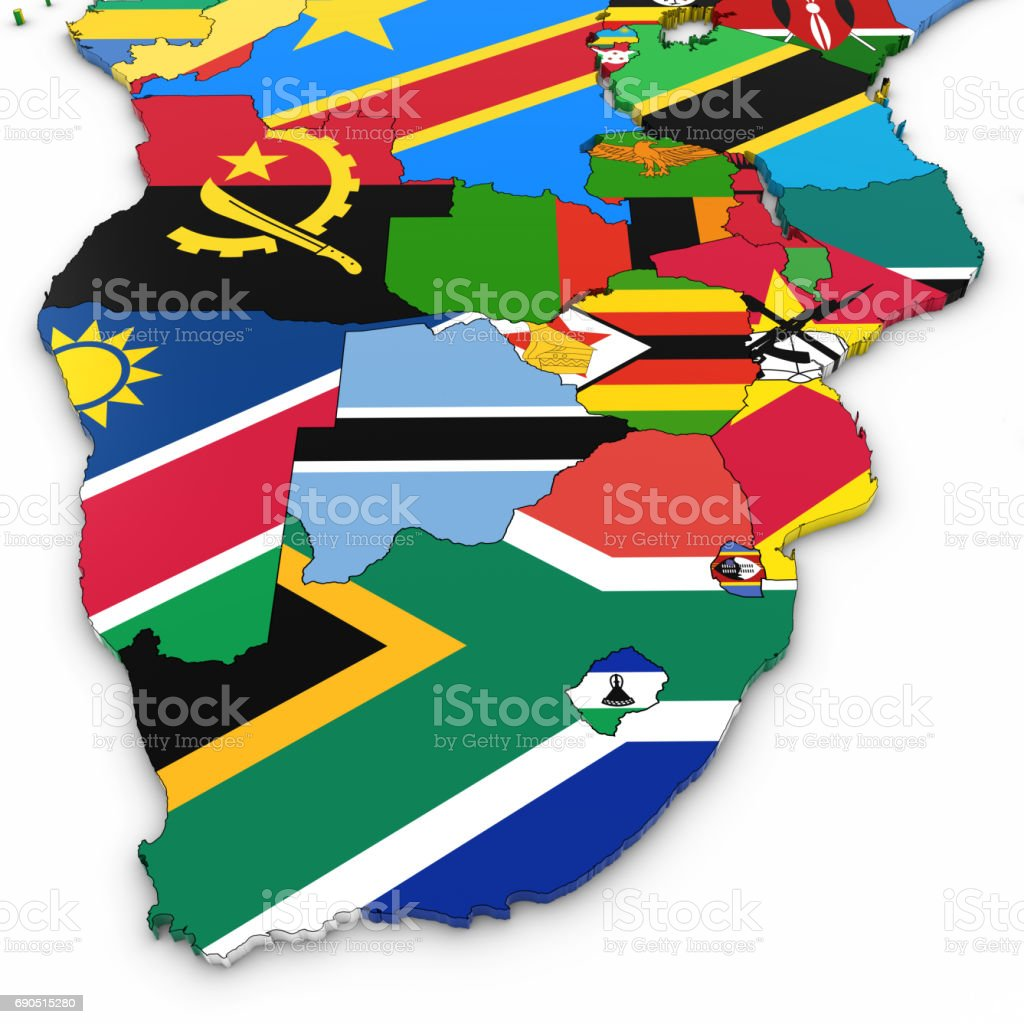 3d Map Of Southern Africa With National