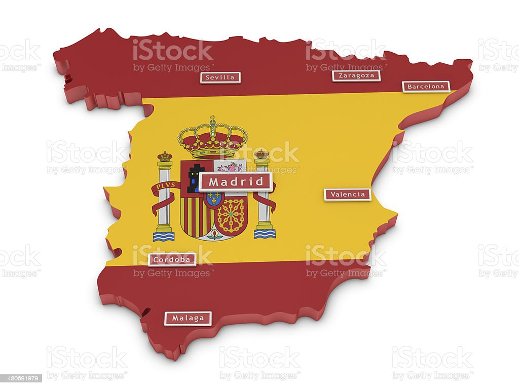 Big Map Of Spain.Map Of Spain And Big Cities Stock Photo Download Image Now Istock