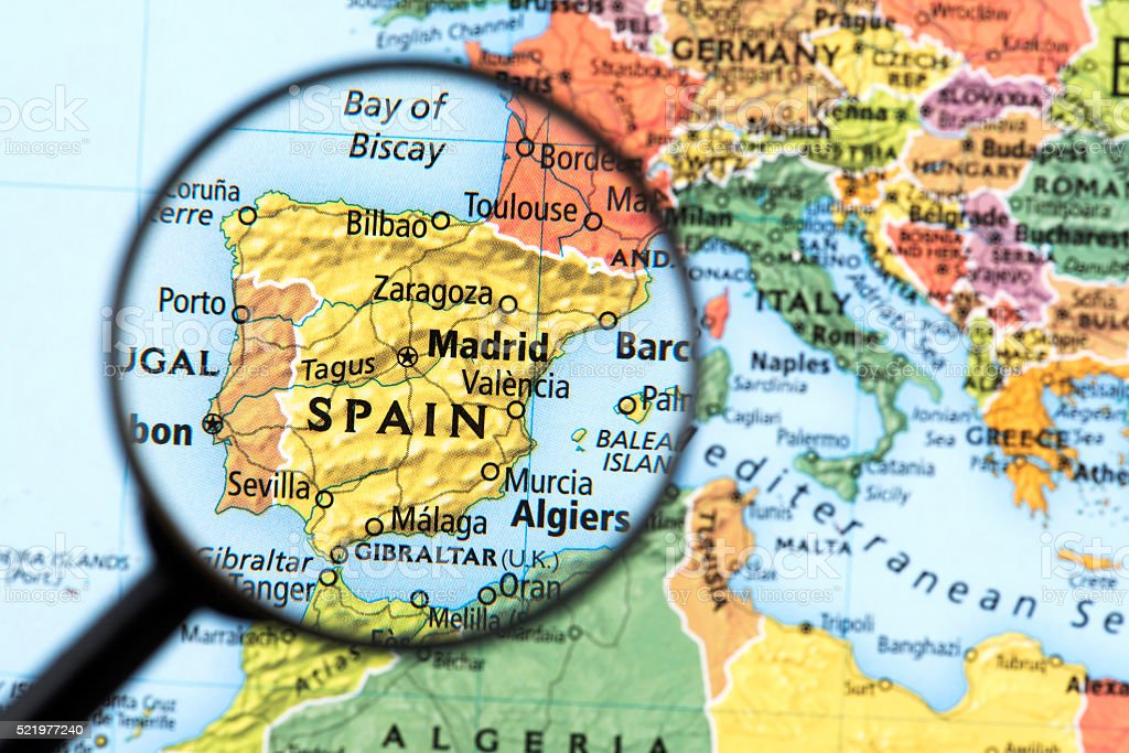 Map of Spain and Portugal stock photo