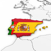 D Map Of Spain With Spanish Flag On White Background D - Portugal map flag