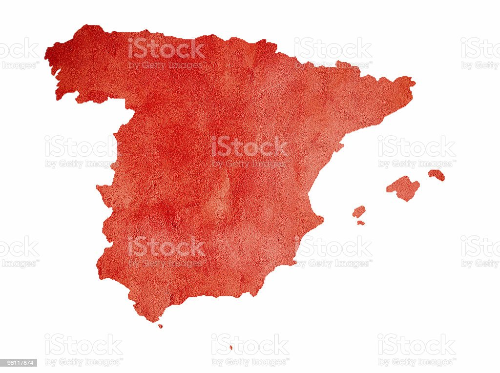 Map of Spain isolated on white royalty-free stock photo