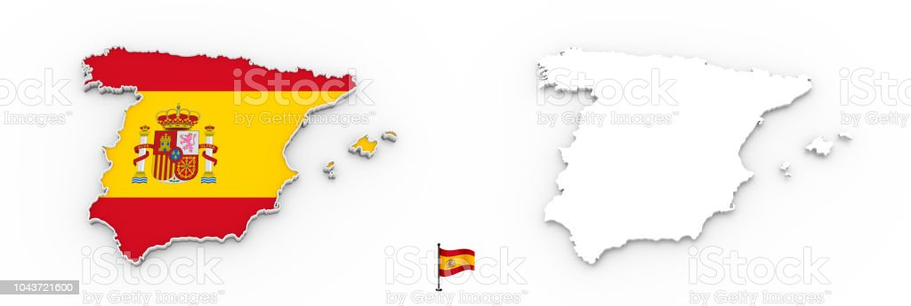 3d Map Of Spain.3d Map Of Spain White Silhouette And Flag Stock Photo Download Image Now