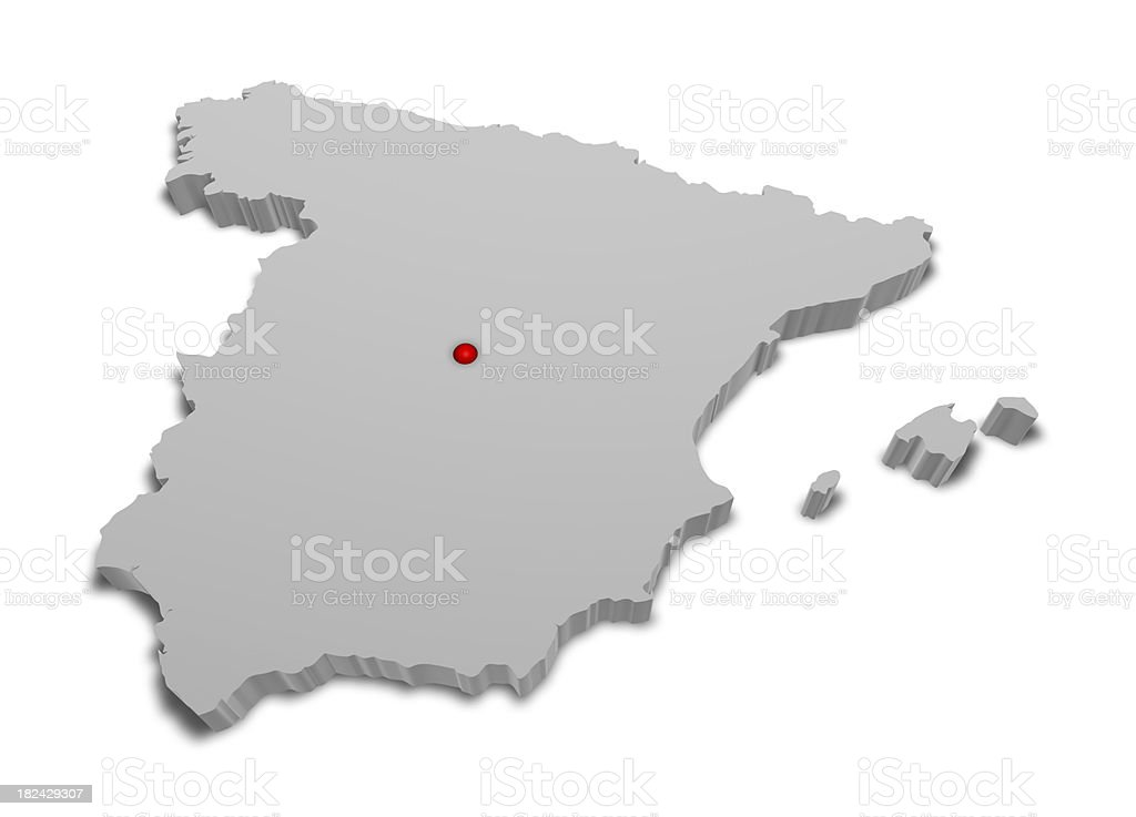 3D Map of Spain with Capital City Marked. royalty-free stock photo