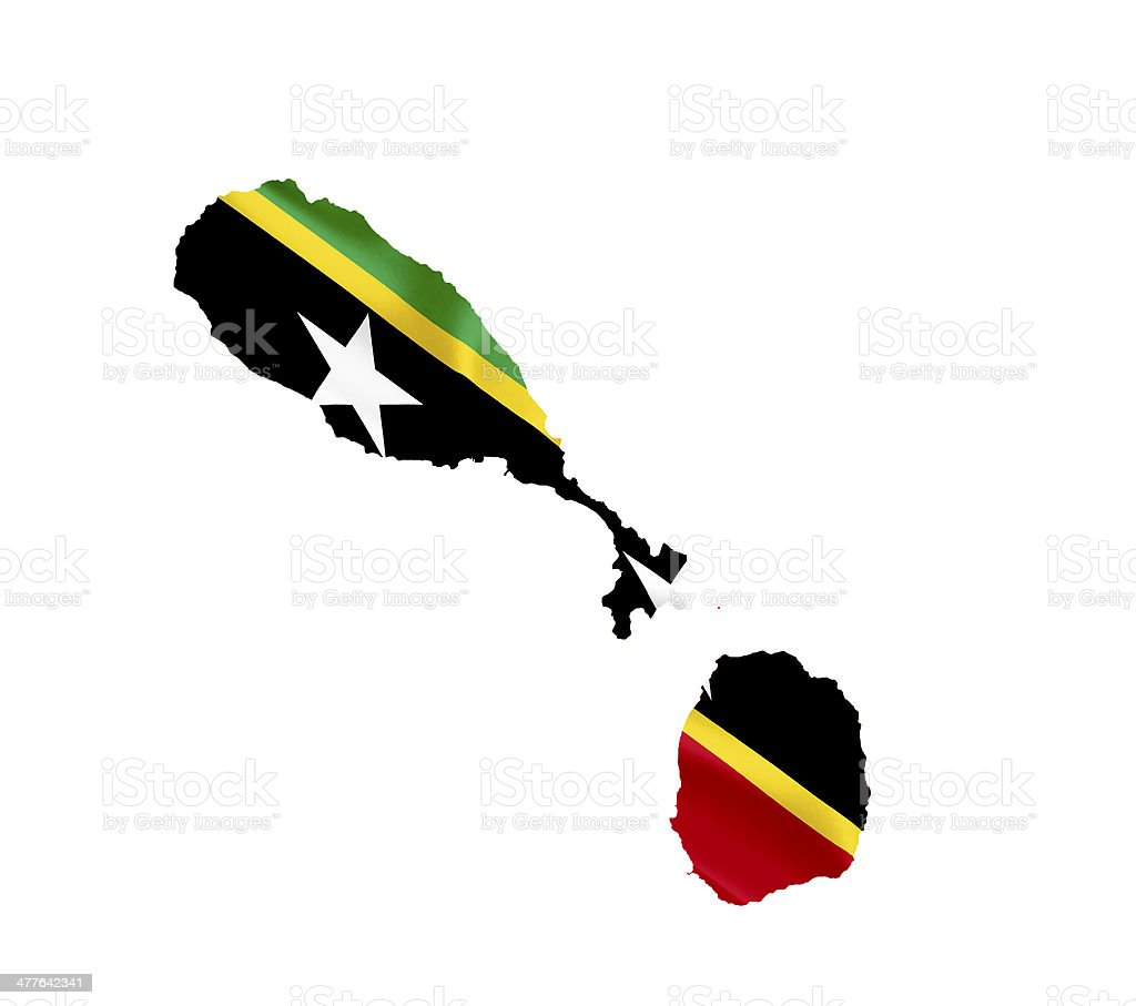 Map of St Kitts and Nevis with waving flag isolated stock photo