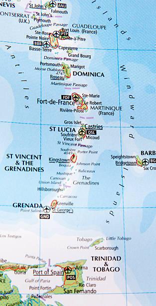 karte von st. lucia-bereich - kingstown stock-fotos und bilder