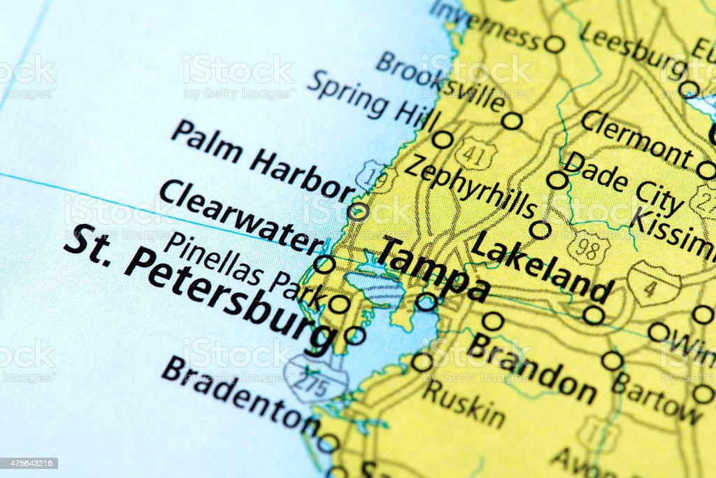 Map Of St Petersburg And Tampa In Florida State Usa Stock Photo