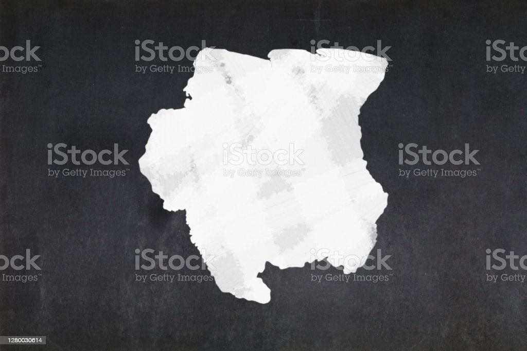 Map of Suriname drawn on a blackboard Blackboard with a the map of Suriname drawn in the middle. Backgrounds Stock Photo