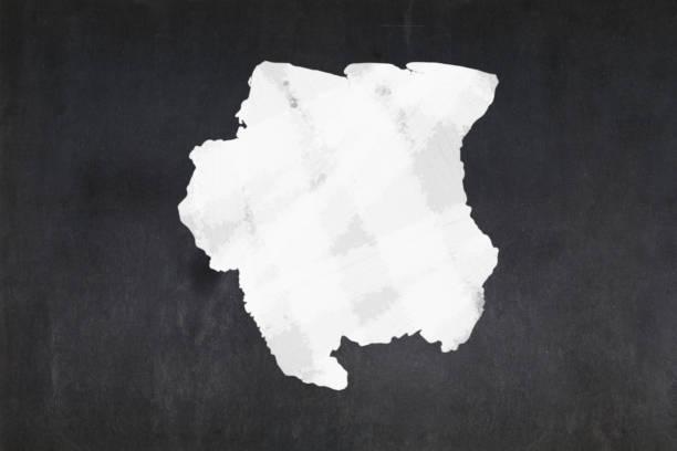 Map of Suriname drawn on a blackboard stock photo